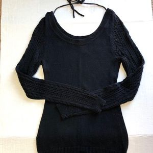Roxy Tie Behind Knit scoop sweater  Size Small